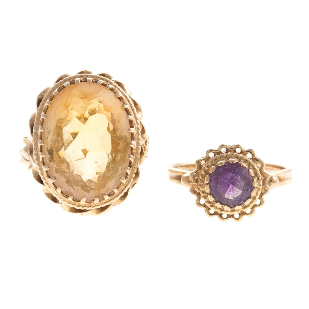 Two Ladies Vintage Gemstone Rings in 14K Gold