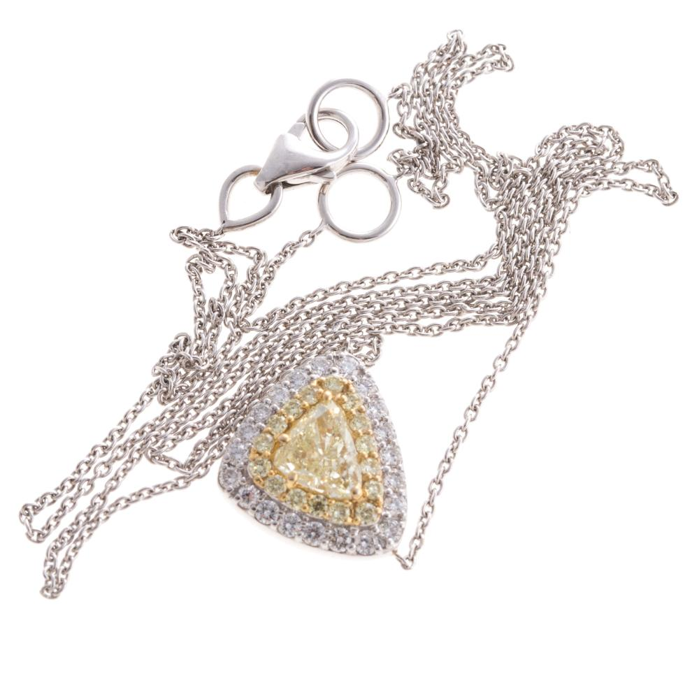 Lot 195: A Ladies Yellow & White Diamond Necklace in 18K