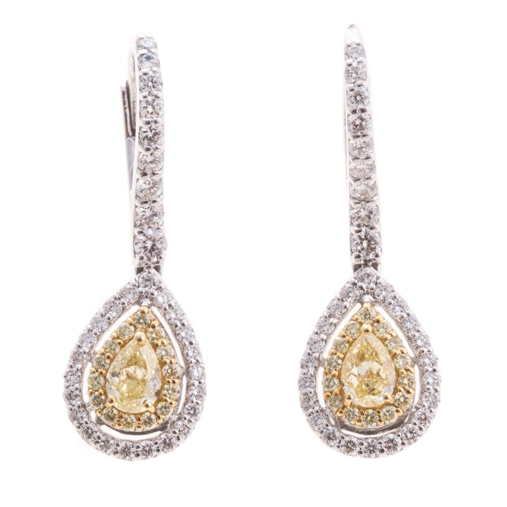 A Pair of Yellow & White Diamond Earrings in 18K