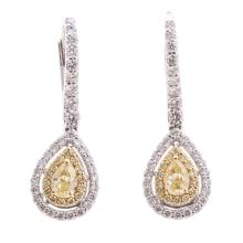 Lot 196: A Pair of Yellow & White Diamond Earrings in 18K