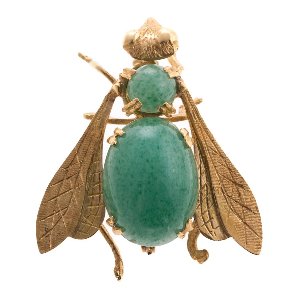 A Ladies Bumblebee Brooch with Aventurine in 18K