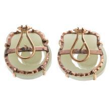 Lot 201: A Ladies Pair of Jade Dragon Earrings in 14K