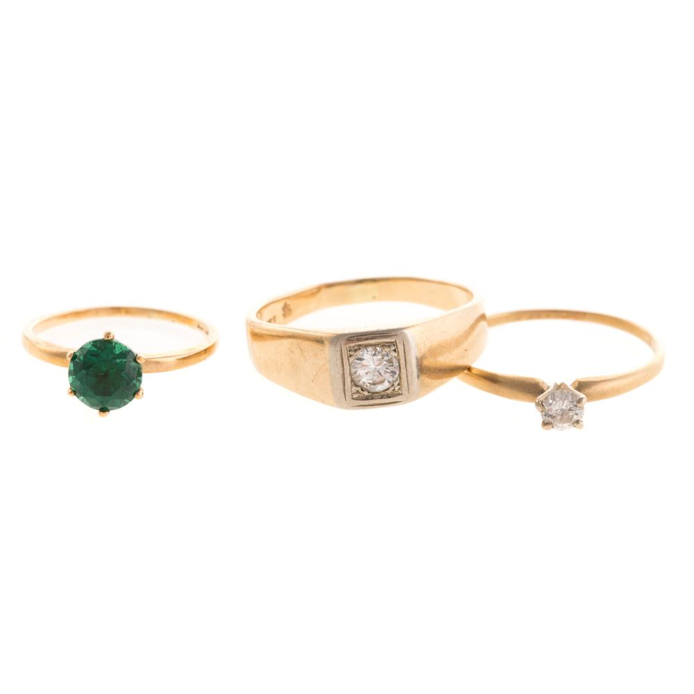 A Trio of Solitaire Rings in Gold