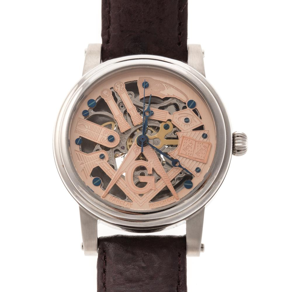 A Masonic Skeleton Watch by Barclay Company