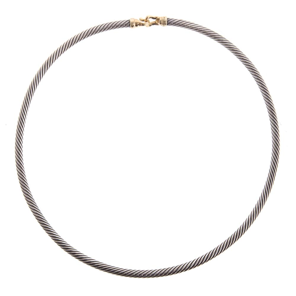A Ladies D. Yurman Cable Necklace with 18K