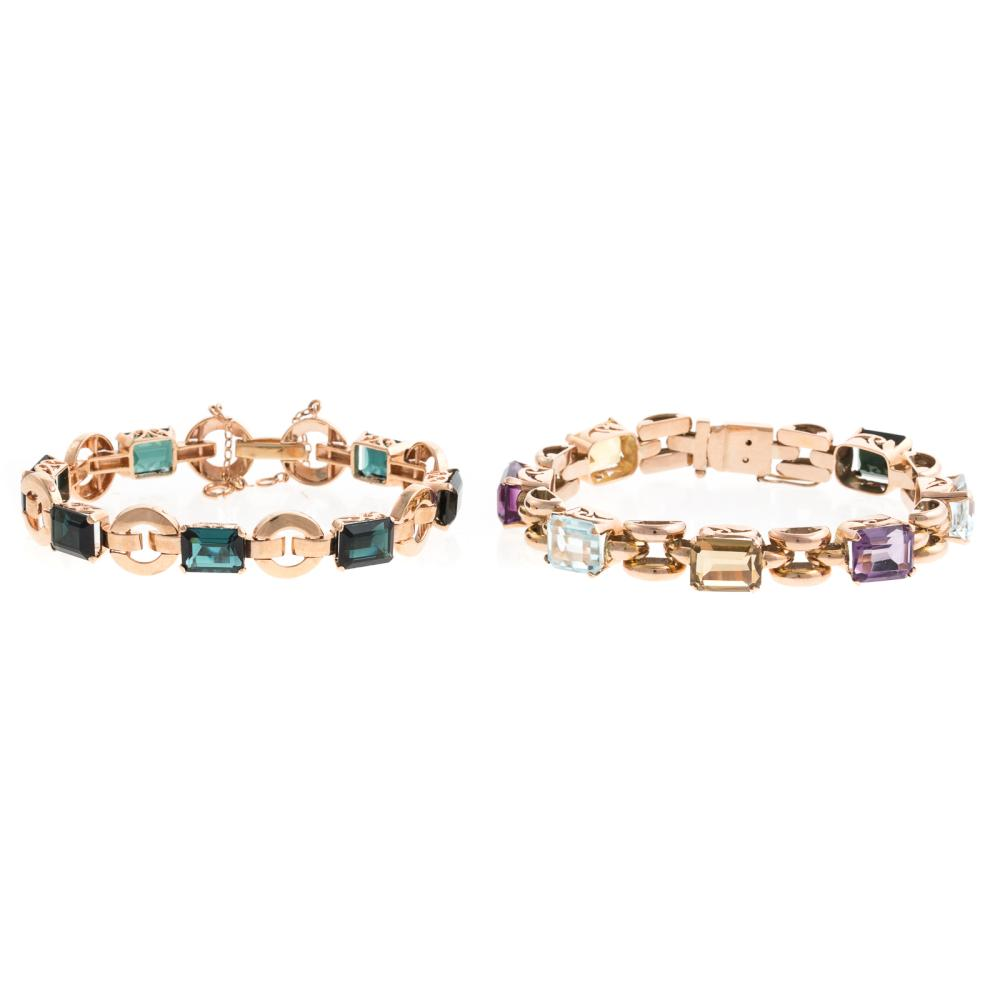Two Ladies Gemstone Bracelets in 18K Gold
