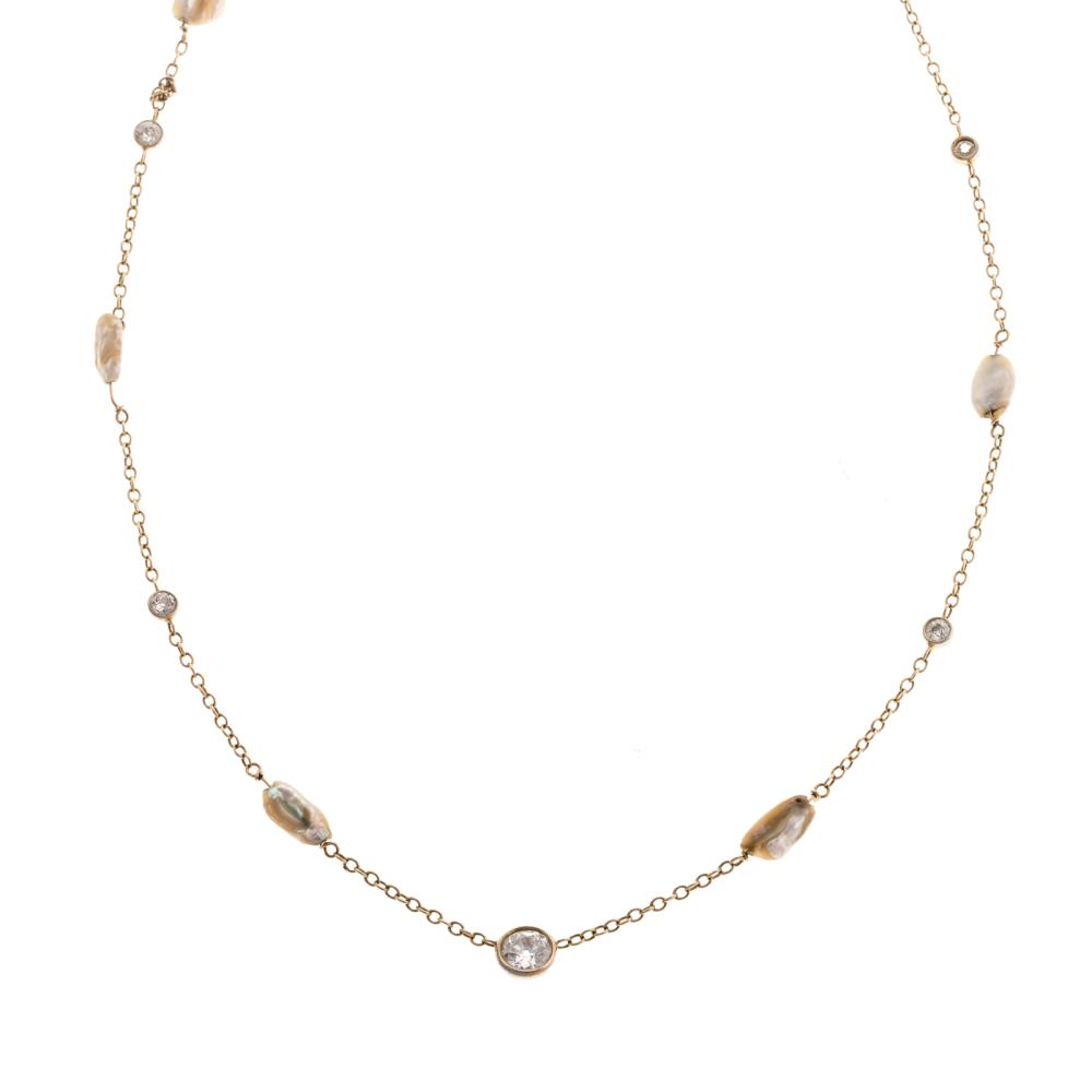 A 14K Diamond & Freshwater Pearl Station Necklace