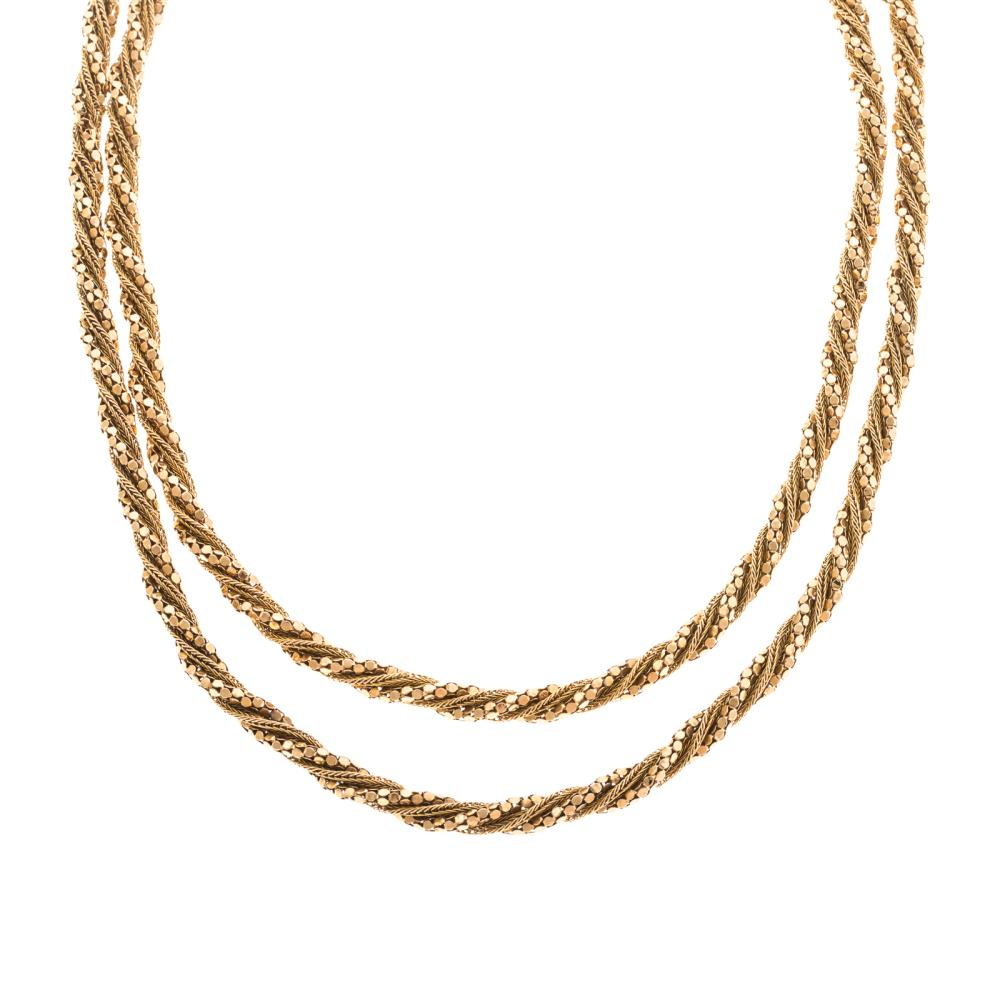 A Ladies Long Fancy Rope Chain in 18K