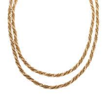 Lot 225: A Ladies Long Fancy Rope Chain in 18K