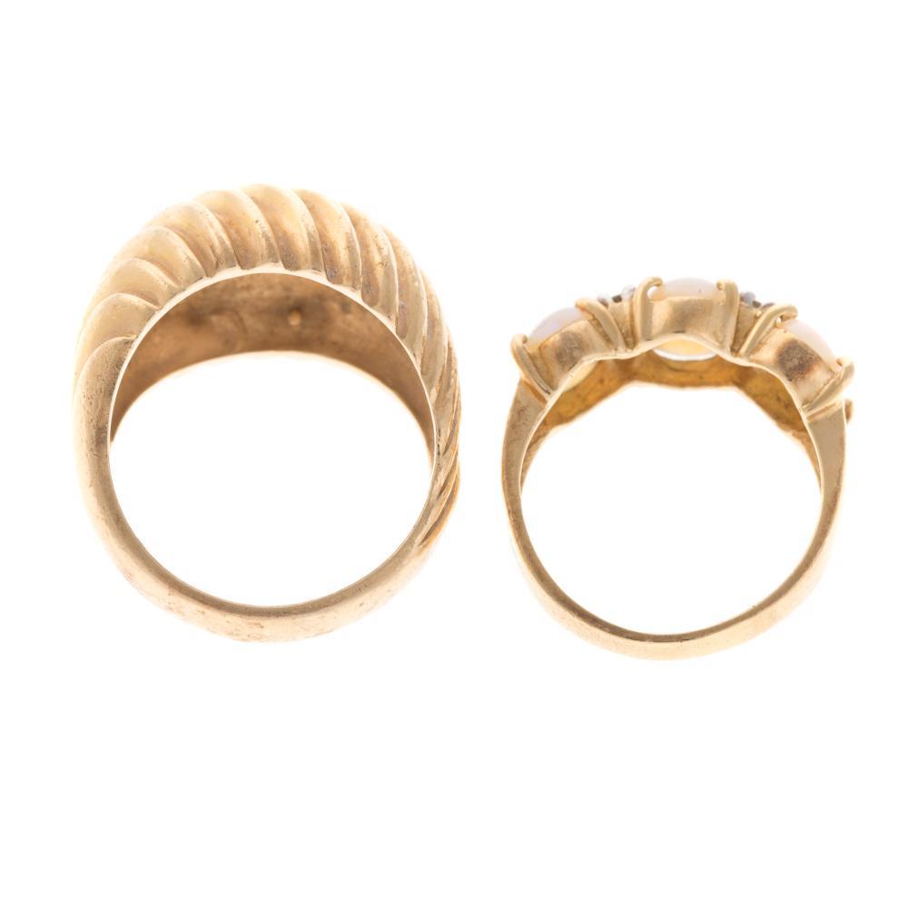 Lot 226: A Ladies 14K Dome Ring & 14K Opal Diamond Ring