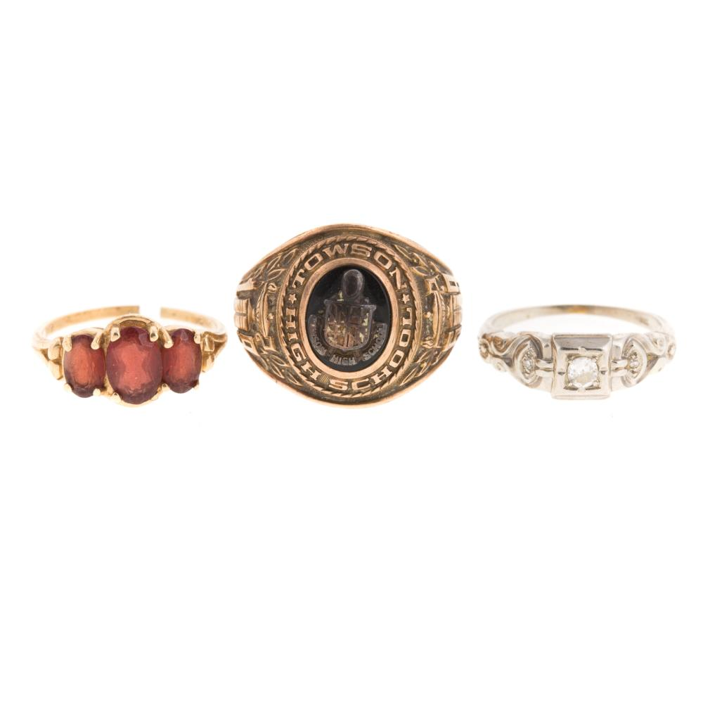 A Trio of Ladies Gemstone & Diamond Rings in Gold