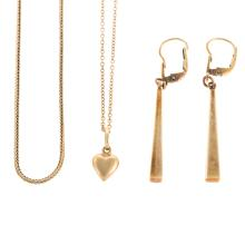 Lot 229: A Collection of Ladies Gold Jewelry