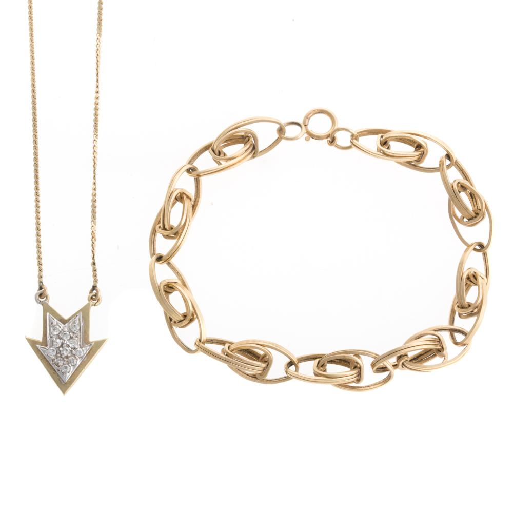 A Diamond Arrow Necklace & Link Bracelet in 14K