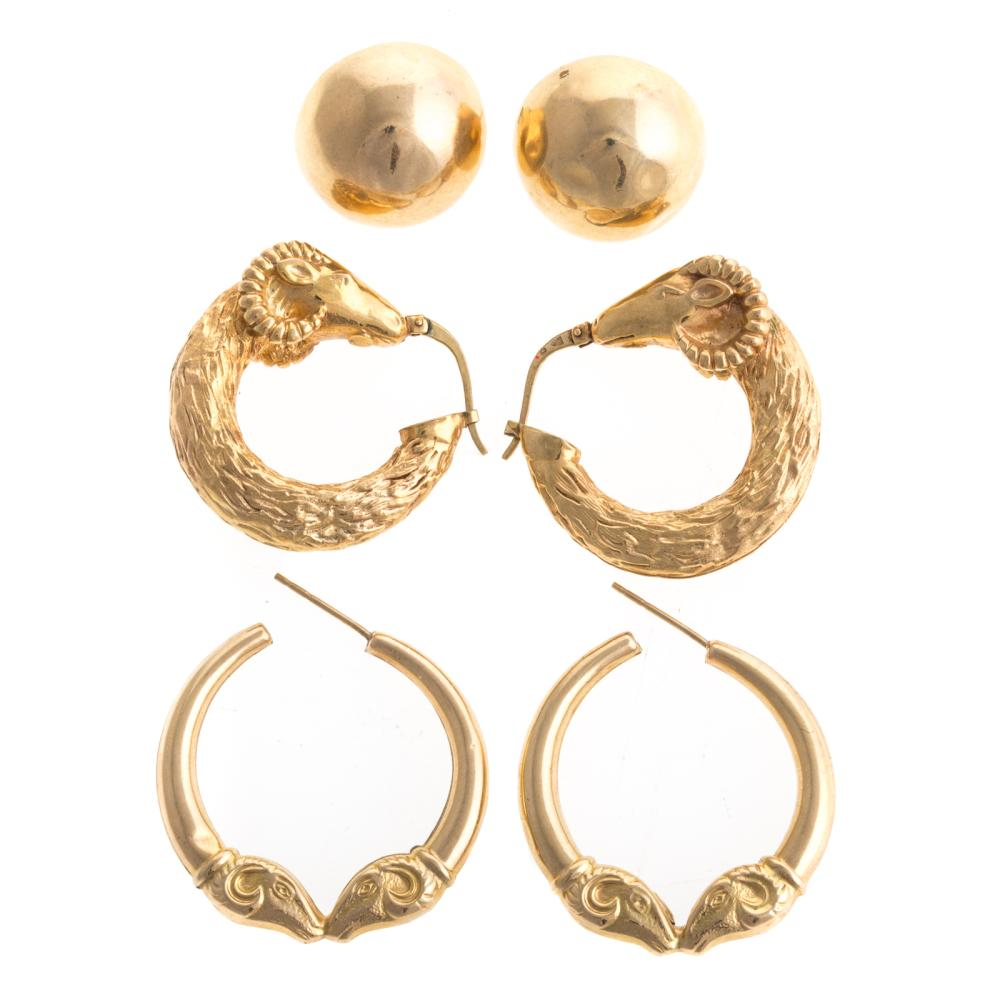A Trio of Ladies 14K Earrings and Hoops