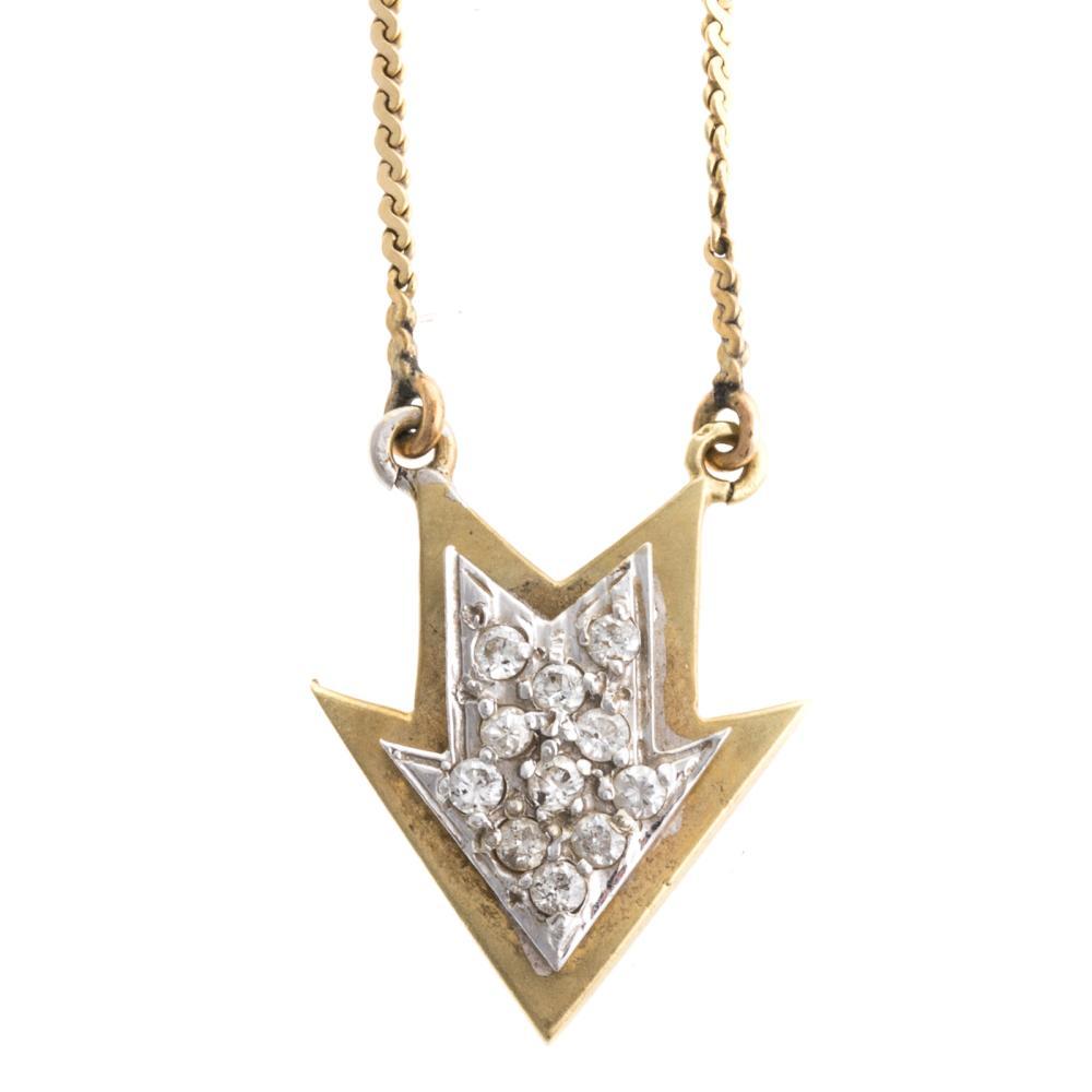 Lot 233: A Diamond Arrow Necklace & Link Bracelet in 14K