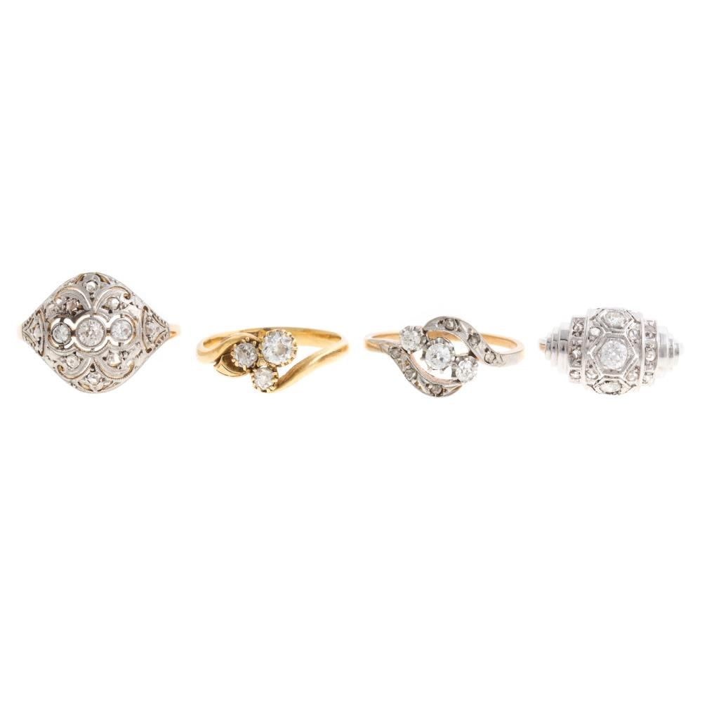 Four Vintage Diamond Rings in 18K & Platinum