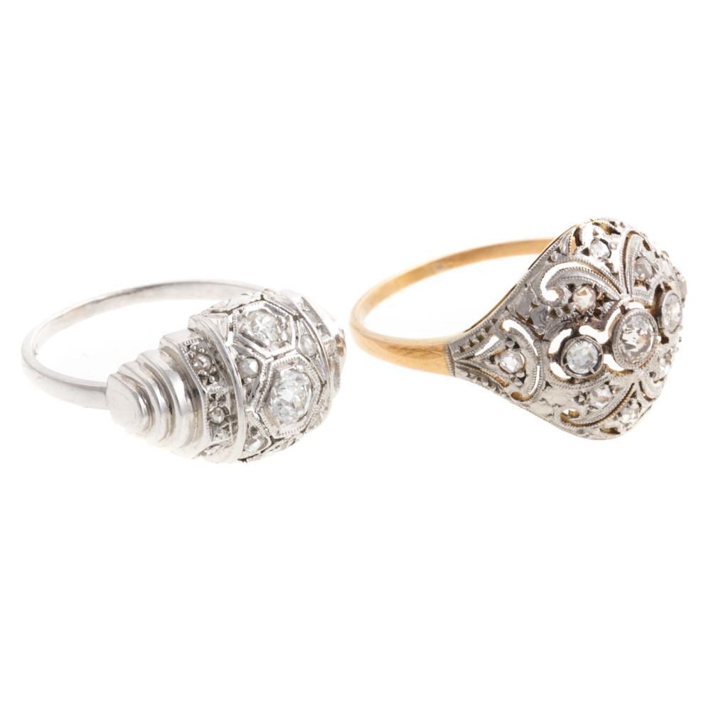 Lot 238: Four Vintage Diamond Rings in 18K & Platinum
