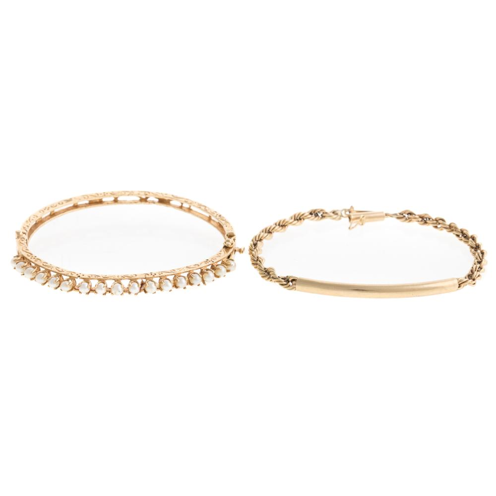 A Victorian Pearl Bangle & Rope Bracelet in 14K