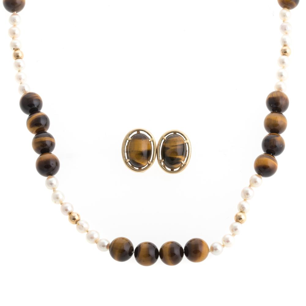 A Pair of 14K Tiger's Eye Earrings & Necklace