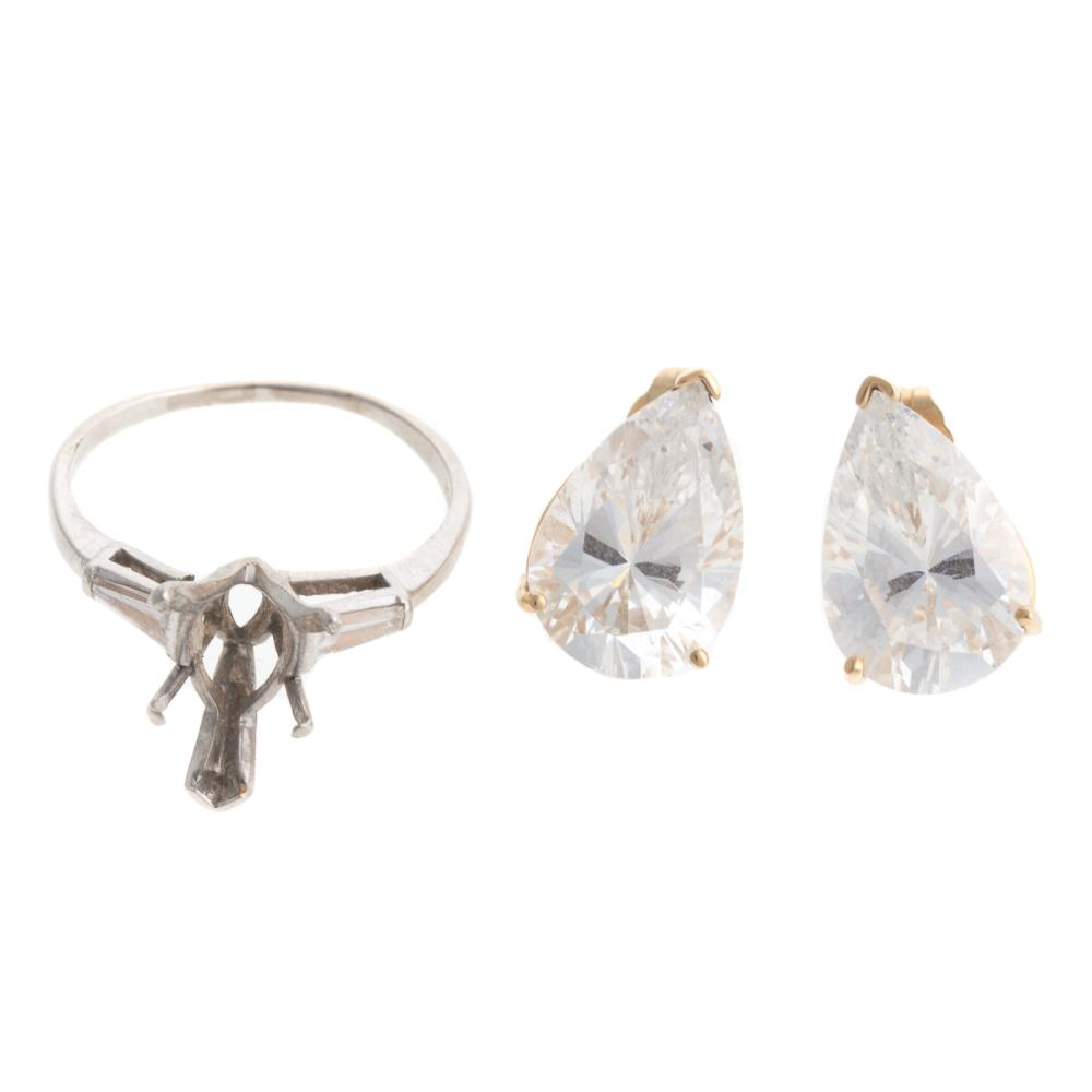 Lot 240: A Platinum Diamond Mounting & CZ Studs in Gold