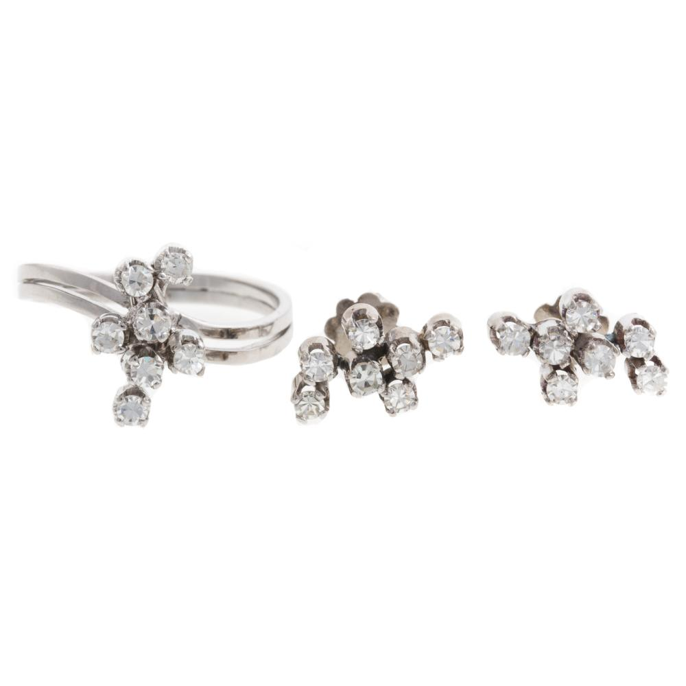 A Matching Vintage Diamond Ring & Earrings in 18K