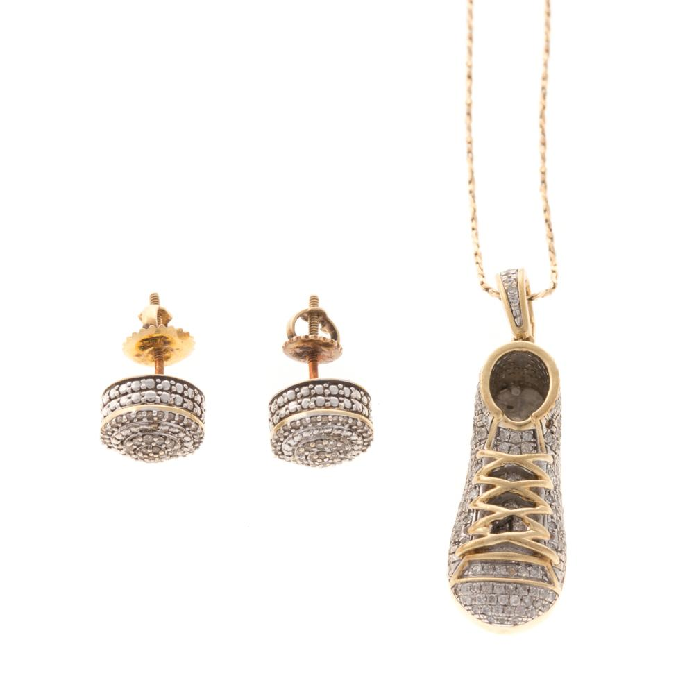 A Pair of Diamond Earrings & Diamond Shoe Pendant