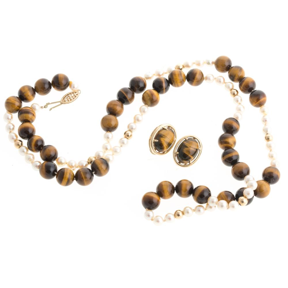 Lot 241: A Pair of 14K Tiger's Eye Earrings & Necklace