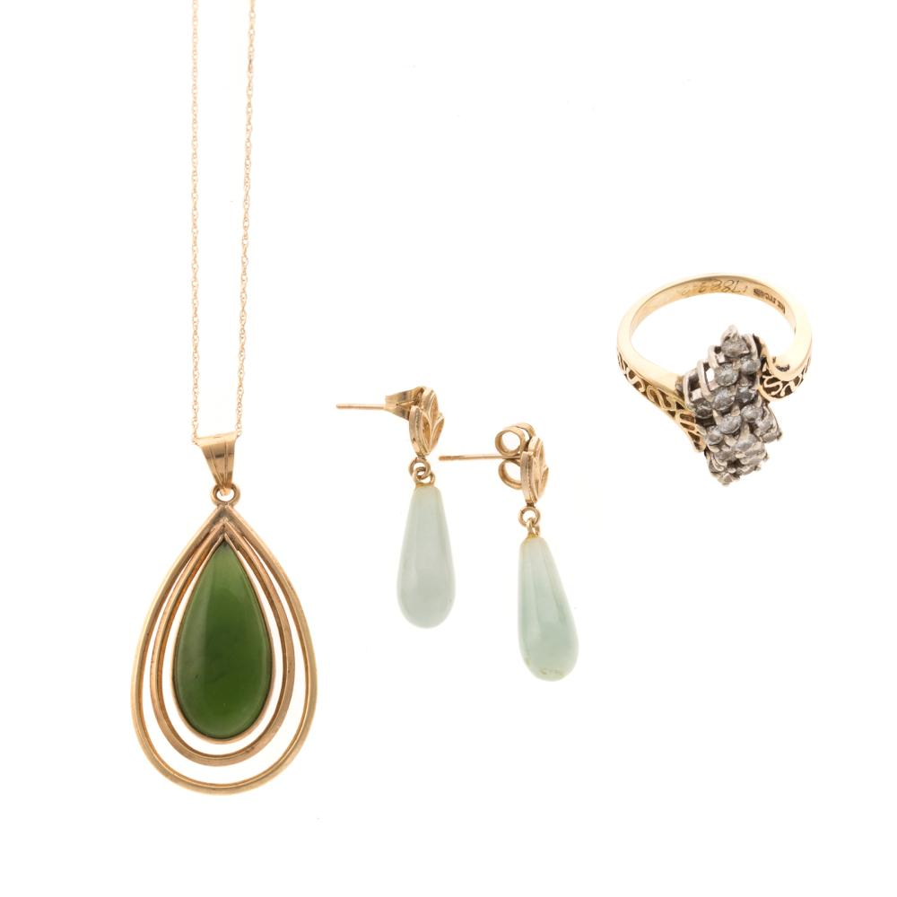 A Diamond Ring, Jade Earrings & Pendant in 14K