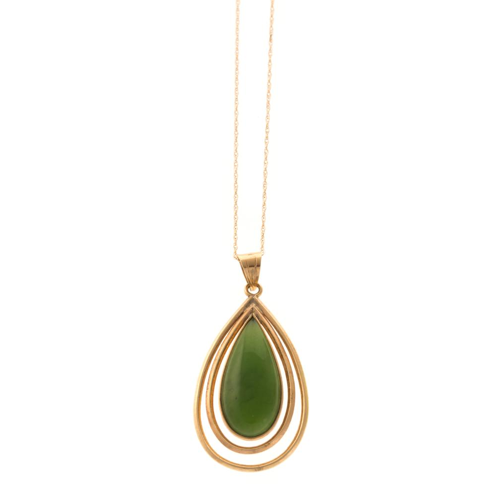 Lot 247: A Diamond Ring, Jade Earrings & Pendant in 14K