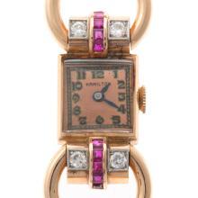Lot 246: A Ladies Retro Hamilton Watch with Diamonds in 14K