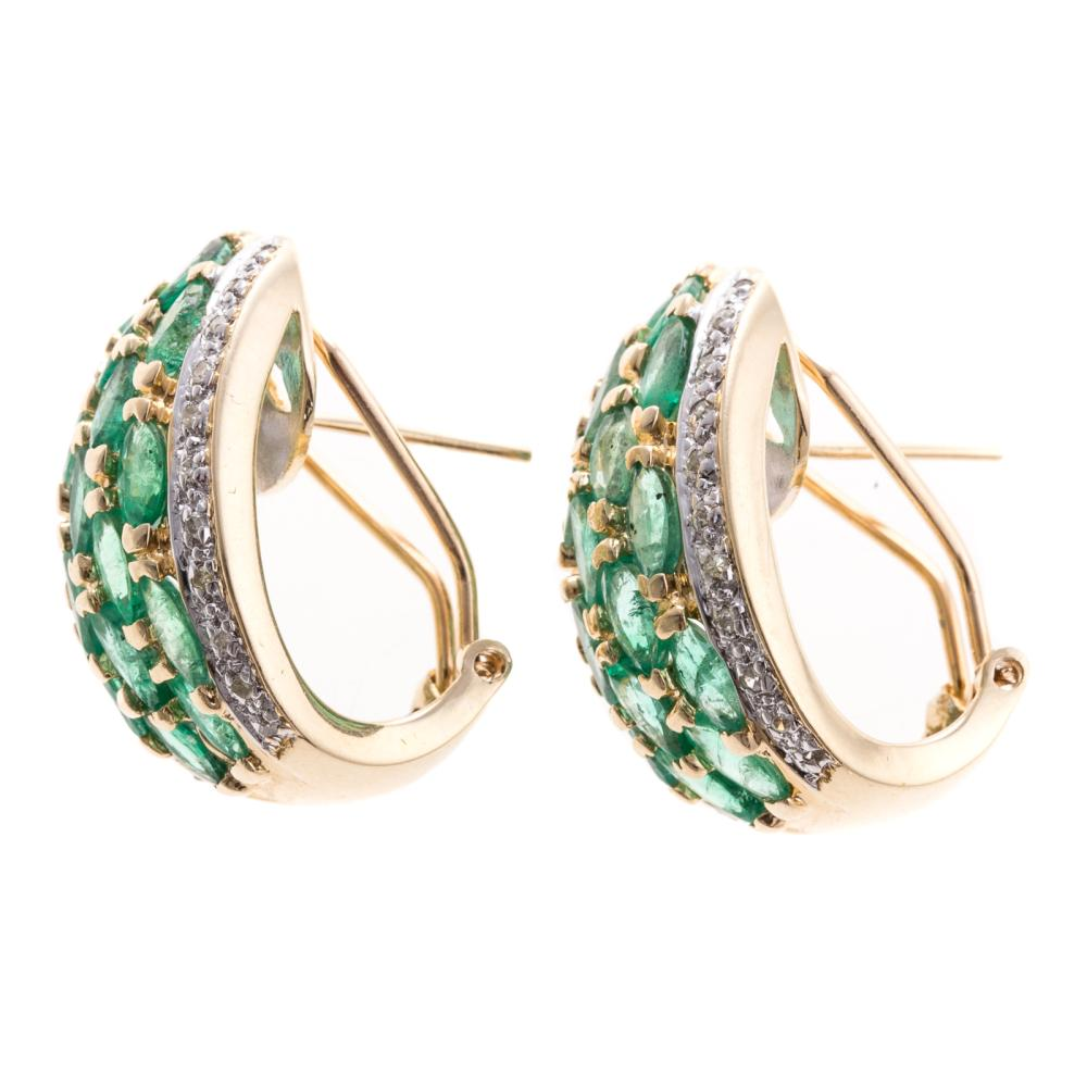 Lot 248: A Pair of Emerald and Diamond Half Hoops in 14K