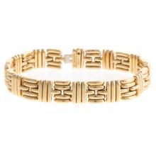 Lot 252: A Ladies 18K Geometric Link Bracelet by Bvlgari