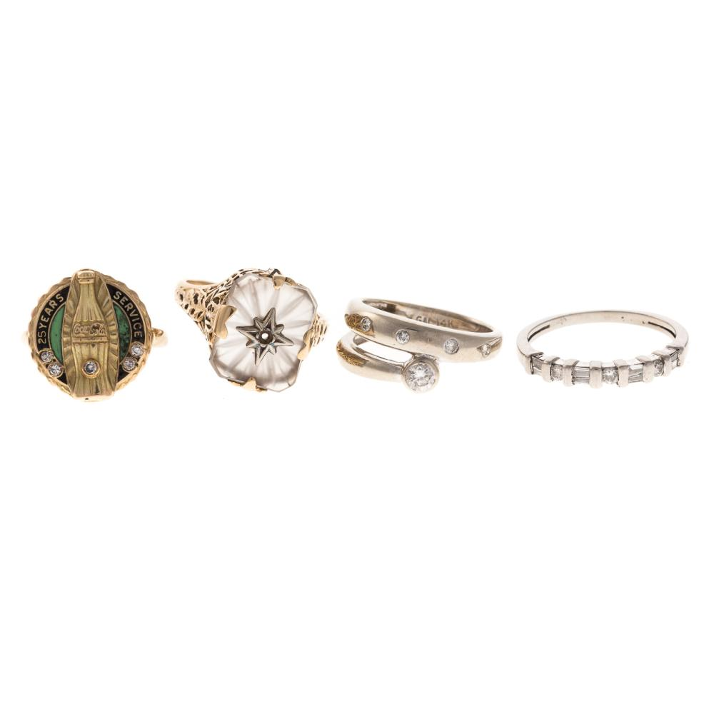 A Collection of Rings in Gold with Diamonds