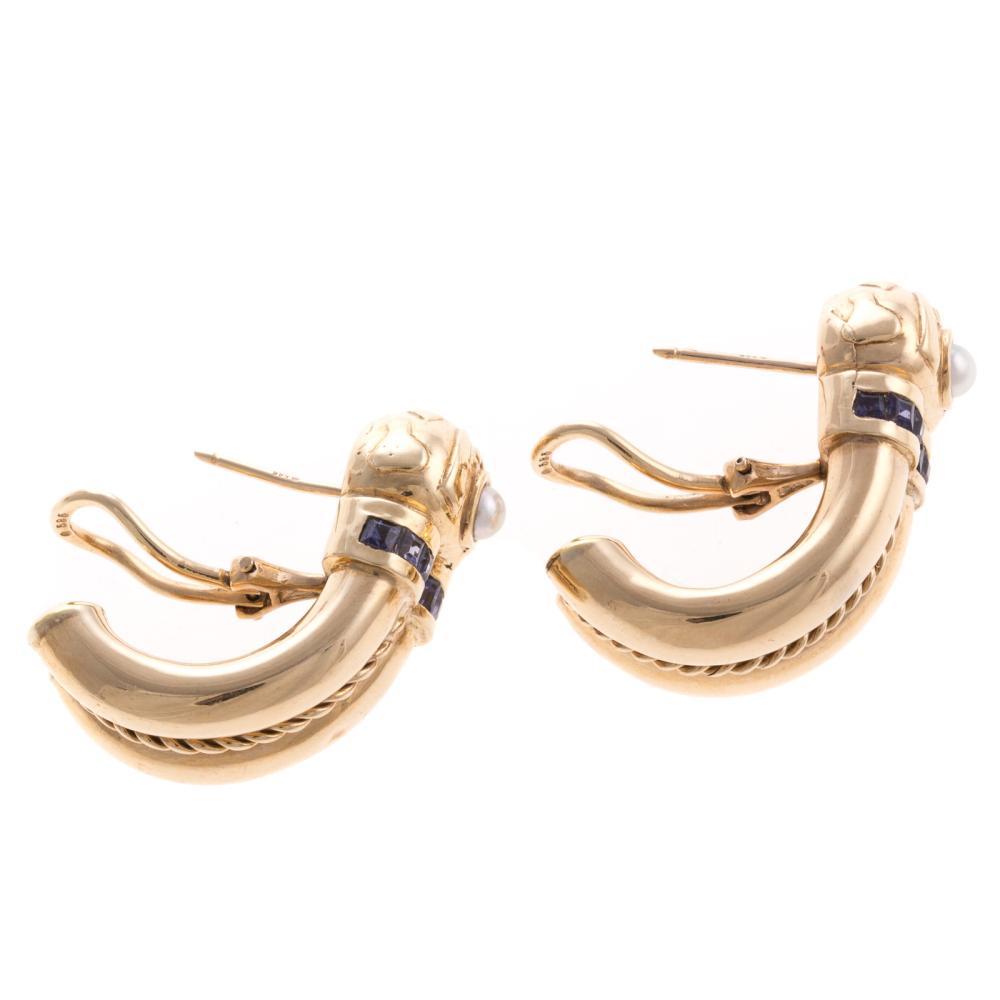 Lot 267: A Pair of 14K Iolite & Pearl Hoop Earrings