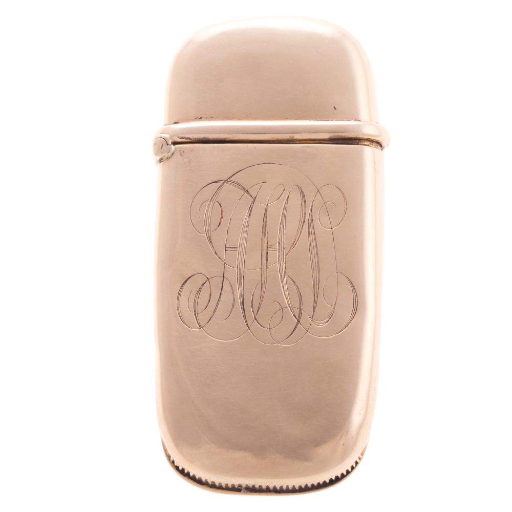 A 14K Yellow Gold Monogrammed Match Safe
