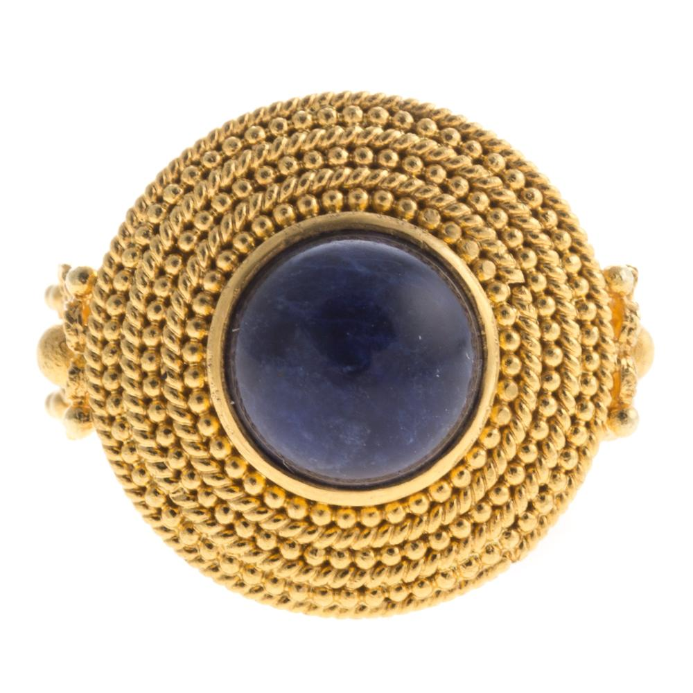 A Ladies Grecian Lapis Ring in 18K Gold
