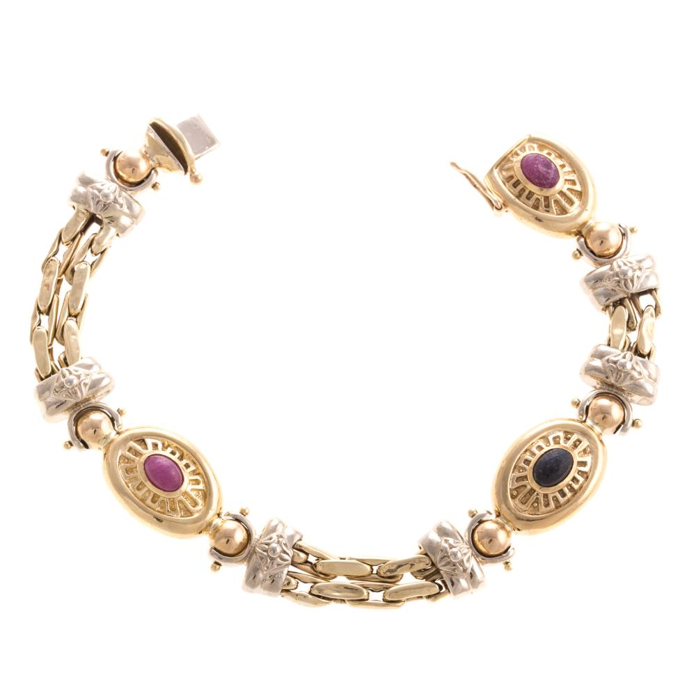 Lot 270: A Ladies Multi Colored Gemstone Bracelet in 14K