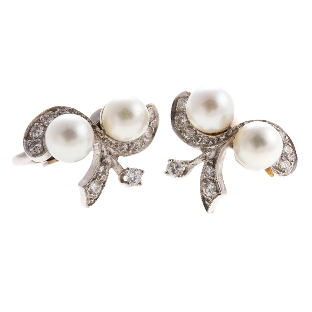 A Pair of Ladies Cultured Pearl & Diamond Earrings