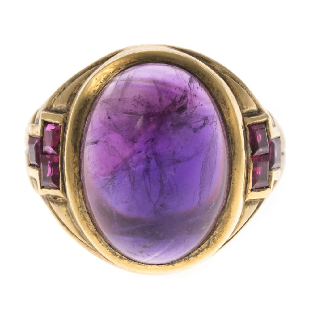 Lot 276: A Ladies Amethyst & Ruby Ring in 18K Gold