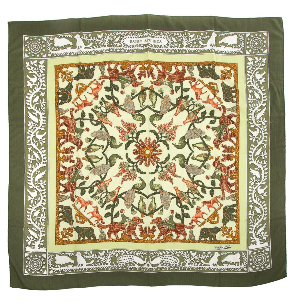 """Lot 300: A Hermes """"Early America"""" Cashmere Silk Shawl"""
