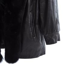 Lot 314: A Ladies Black Leather Jacket with Fox Trim