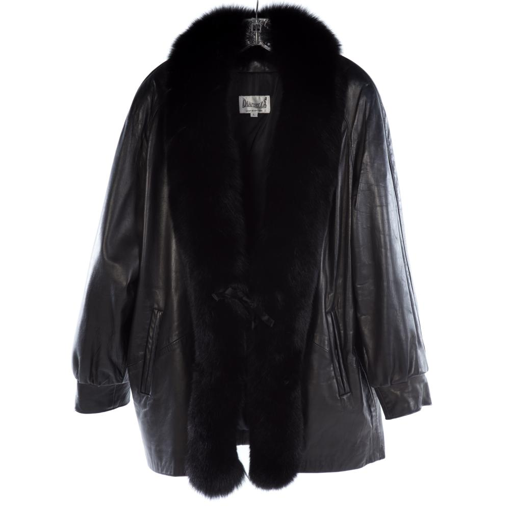 A Ladies Black Leather Jacket with Fox Trim