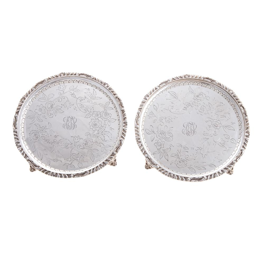 Lot 401: Matched Pair Kirk Sterling Silver Footed Waiters