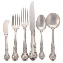 """Lot 403: Gorham """"English Gadroon"""" Sterling Service for 12"""