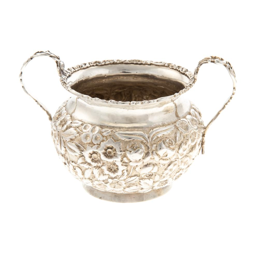 Lot 402: BSSCo. Repousse Sterling Creamer & Sugar