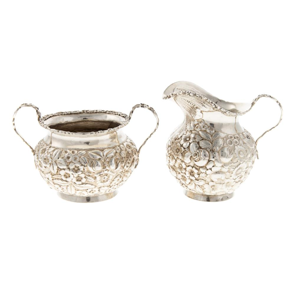 BSSCo. Repousse Sterling Creamer & Sugar