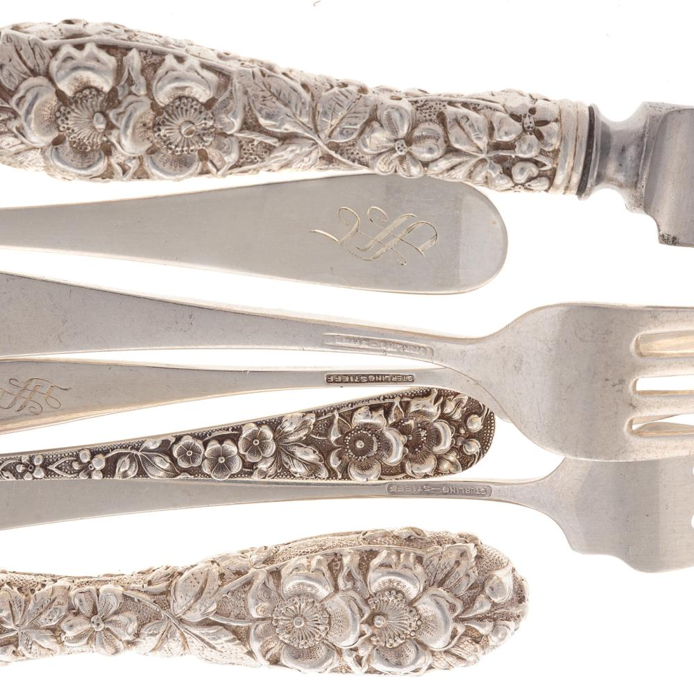 "Lot 406: Stieff ""Forget-Me-Not"" Sterling 23-pc Flatware"