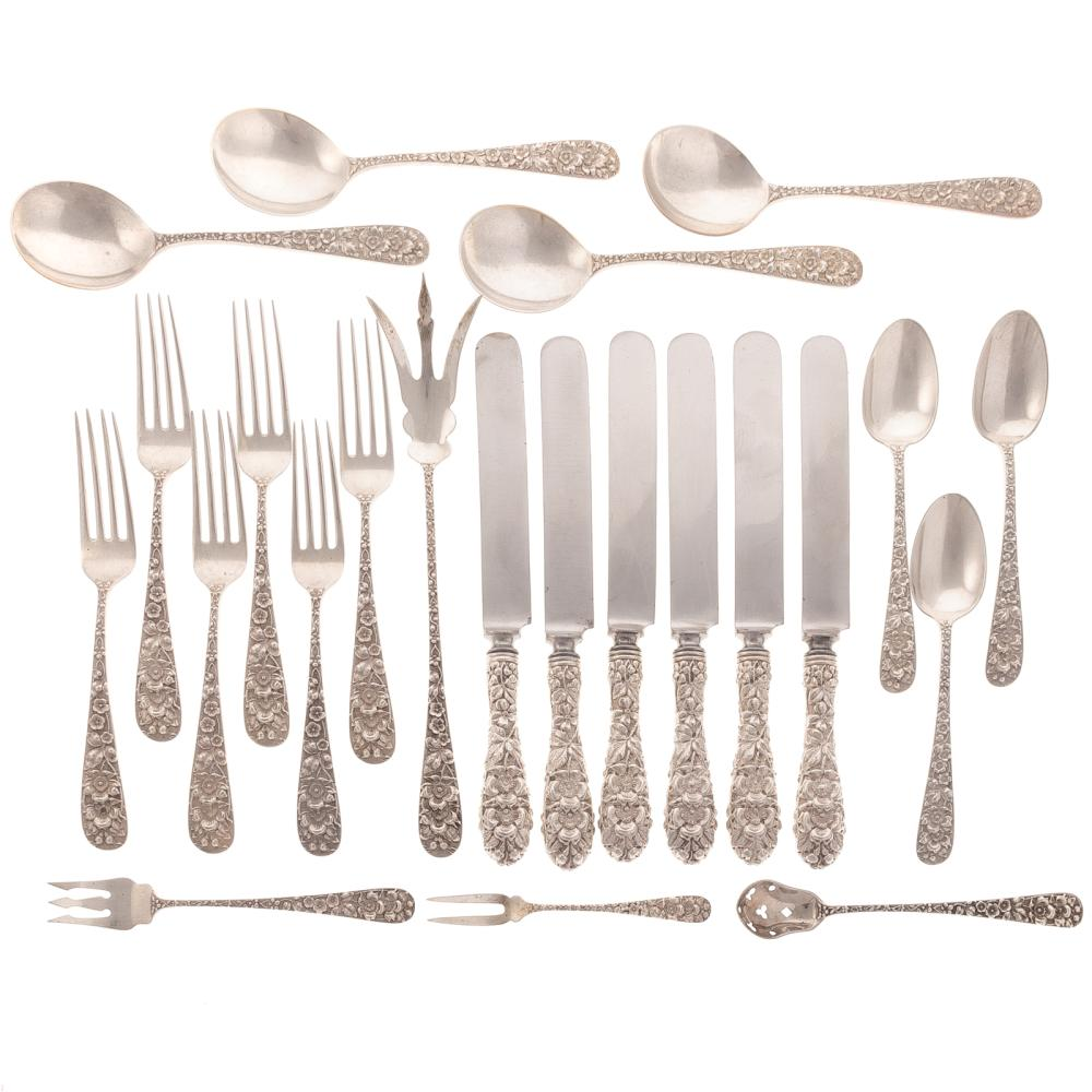 "Stieff ""Forget-Me-Not"" Sterling 23-pc Flatware"