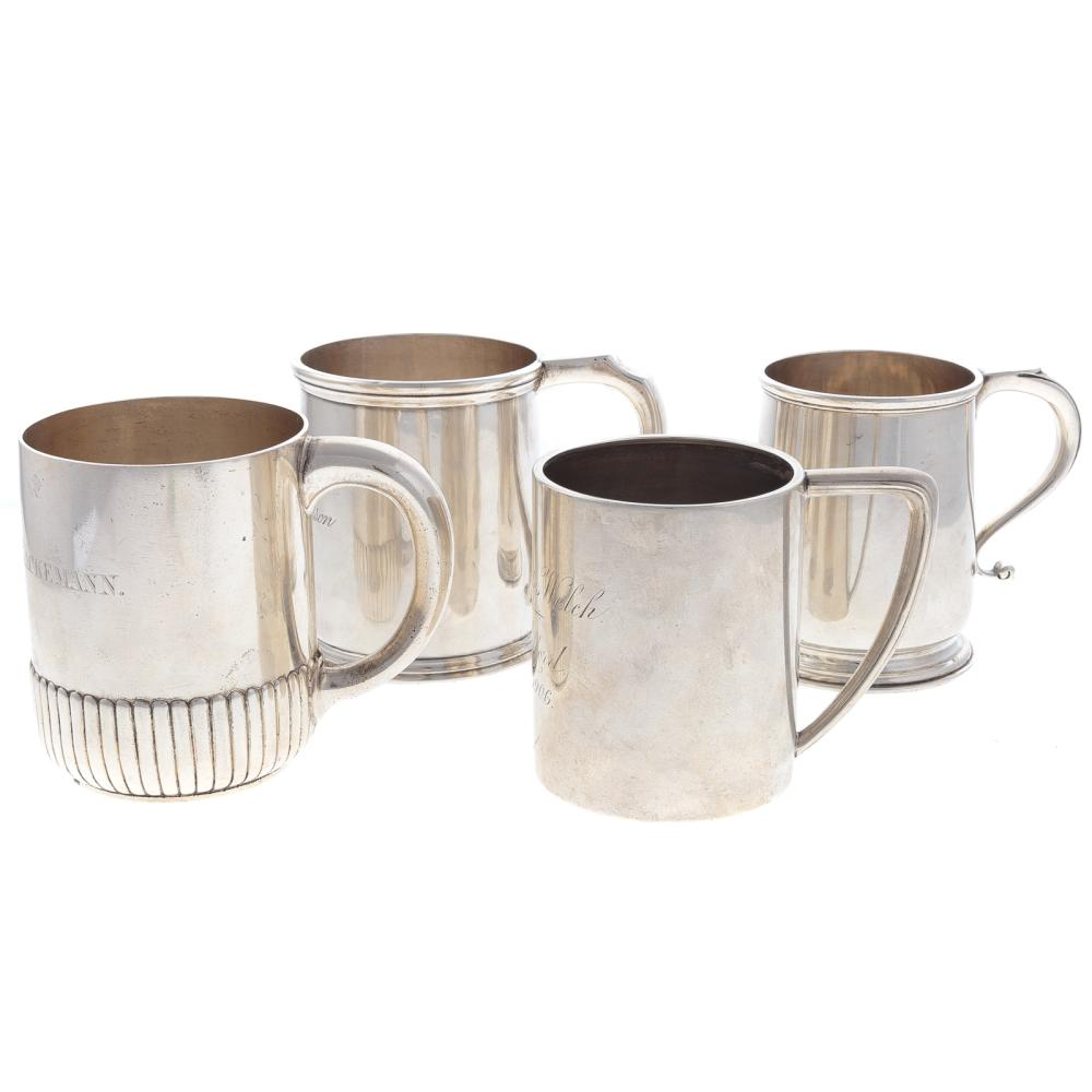 Lot 411: 4 American and English Silver Mugs