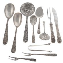 """Lot 410: Kirk """"Repousse"""" Sterling Silver Serving Pieces"""